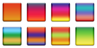 Web Button. Colourful Square Buttons For Internet Web Pages, White Background Royalty Free Stock Image