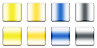 Web Button. Colourful Square Buttons For Internet Web Pages, White Background stock illustration