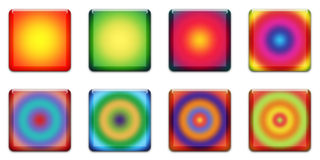 Web Button. Colourful Square Buttons For Internet Web Pages, White Background Royalty Free Stock Photos