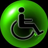 Web Button. Green button - web button with - internet design handicap or wheelchair accessible symbol stock illustration