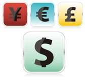 Web button. Money signs isolated Royalty Free Stock Photography