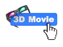 Web Button with Cursor and Anaglyph Glasses. Royalty Free Stock Photo