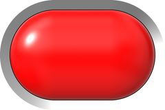 Web button 3d - red glossy realistic with metal frame, easy to expand. 3d rendering vector illustration