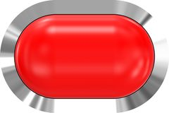 Web button 3d - red glossy realistic with metal frame, easy to expand. 3d rendering royalty free illustration