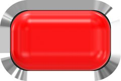 Web button 3d - red glossy realistic with metal frame, easy to expand. 3d rendering stock illustration