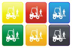 Web button - forklift truck Stock Photo