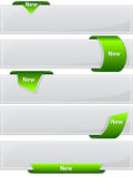 Web button with green ribbon. Collection web button with green ribbon. Vector illustration Stock Photo