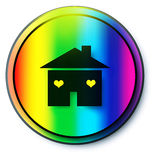 Web button house. Outline of home with rainbow background vector illustration