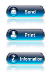 Web button, icon set. Send print info, vector illustration Stock Photos