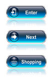 Web button, icon set. Enter next buy, vector illustration