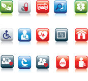 Web button medical. Medical and hospital icon and web coloured buttons