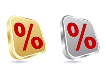 Web button with percent on it Stock Photography