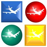 Web button - plane. Computer generated image Royalty Free Stock Image