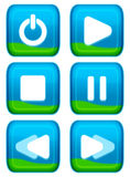 Web button - player set. Eye appealing aqua style of web button - player series Royalty Free Stock Image