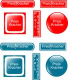 Web button preiskracher set Royalty Free Stock Images