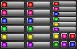 Web button set. Internet empty colorful rectangular buttons Stock Images