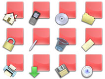 Web button squared red (02) Stock Photo