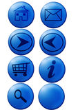 Web buttons. Blue and glassy web buttons with home, mails, shopping cart, info, ect Stock Photography