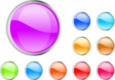 Web buttons. Set of color buttons for web sites Stock Photos