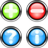 Web buttons. Set of color web buttons. Plus,minus,question,information buttons Royalty Free Stock Photography