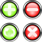 Web buttons. Set of color buttons. Plus,minu,reload,cancel buttons Royalty Free Stock Images