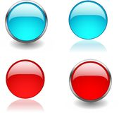 Web buttons. Four color buttons for web sites. Internet buttons Stock Photography
