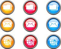 Web buttons. Collection of beautiful color web buttons. Internet icons Royalty Free Stock Photos