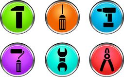 Web buttons. Collection of beautiful color web buttons. Internet icons Stock Photography