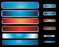 Web buttons. Set of 12 ultra modern shiny metal and colourful web icon buttons / bars, vector