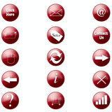 Web Buttons. Red web buttons with symbols Royalty Free Stock Photos