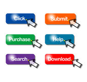 Web buttons. An image showing a selection of web buttons for the computer browser function of click, submit, purchase, help, search, and download plus an arrow Royalty Free Stock Photo
