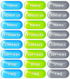 Web buttons. Set of glass website buttons in blue, green and grey color Stock Illustration