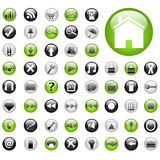 Web Buttons. Green and Black Web Buttons Royalty Free Stock Image