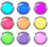 Web buttons. Web shiny buttons in metallic  frame in different colors Royalty Free Stock Photos