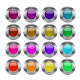 Web buttons. Set of web buttons in different colors and metallic frame Stock Image