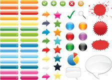 Web Buttons. Collection of colorful web elements useful for web design Stock Images