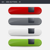 Web Buttons. A set of 4 different colors modern web buttons. gh designs Stock Images