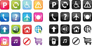 Web buttons. Fun colorful web buttons/icons and standard black and white buttons/icons Royalty Free Stock Image