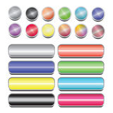 Web Buttons. A selection of 2D coloured buttons for web design Stock Photos