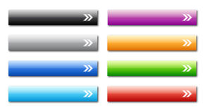 Web buttons. Vector set of 8 blank colorful website buttons with white arrows for your text, eps