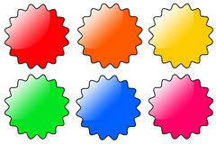 Web buttons. Colorful and glassy web buttons (copy space provided inside buttons Royalty Free Stock Images