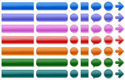 Web buttons. Shiny web buttons in various colors Stock Images