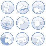 Web buttons. Website icons for shopping and travel vector illustration