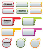Web buttons. Collection of vibrantly colored, smooth-style web buttons , file contains shapes and strokes for easy editing Stock Image