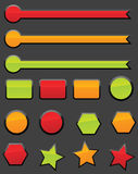 Web buttons. Collection of vibrantly colored, smooth-style web buttons , file contains shapes and strokes for easy editing Royalty Free Stock Image