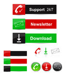 Web buttons. Set of website buttons and icons with support, newsletter and download symbols. Eps file available Royalty Free Stock Photos
