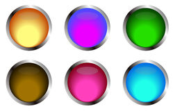 Web buttons. Coloured web buttons with metallic frame Royalty Free Stock Photos