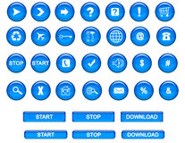 Web buttons. Blue  web buttons on a white background Royalty Free Stock Photo