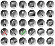 Web buttons. Web round silver buttons collection Royalty Free Stock Photos