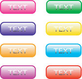 Web buttons. Eight web buttons in various colors Royalty Free Stock Images